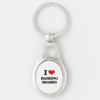 I love Basking Sharks Silver-Colored Oval Metal Keychain