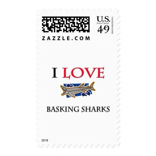 I Love Basking Sharks Postage Stamps