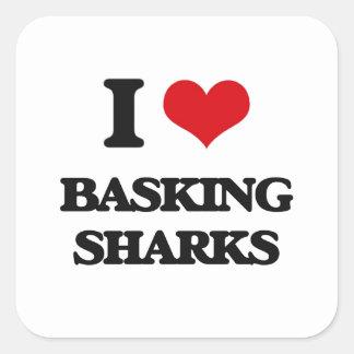 I love Basking Sharks Square Stickers