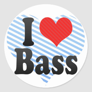 I Love Bass Classic Round Sticker