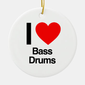 i love bass drums Double-Sided ceramic round christmas ornament