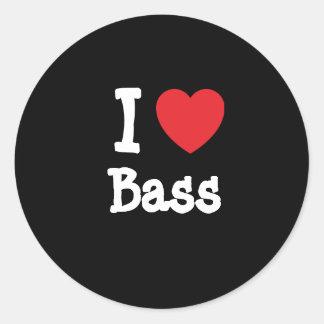 I love Bass heart T-Shirt Classic Round Sticker