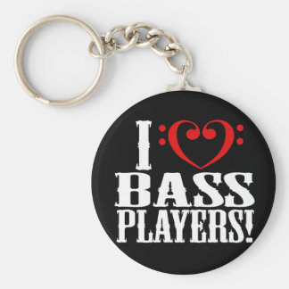 I Love Bass Players! Basic Round Button Keychain