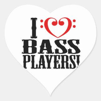 I Love Bass Players! Heart Sticker