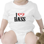 I Love Bass, with bass clef Heart Baby Creeper