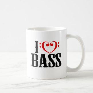 I Love Bass, with bass clef Heart Classic White Coffee Mug