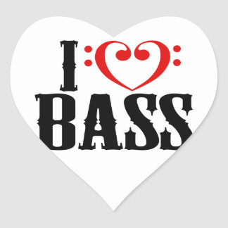 I Love Bass, with bass clef Heart Heart Sticker