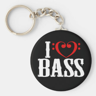 I Love Bass, with bass clef Heart Keychain