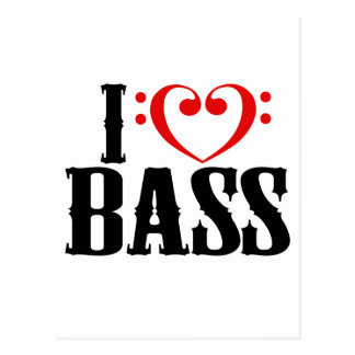 I Love Bass, with bass clef Heart Postcard