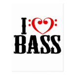 I Love Bass, with bass clef Heart Postcards