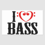 I Love Bass, with bass clef Heart Stickers