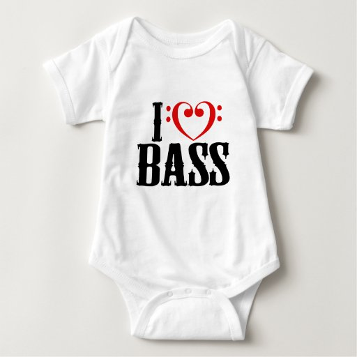 I Love Bass, with bass clef Heart Tees