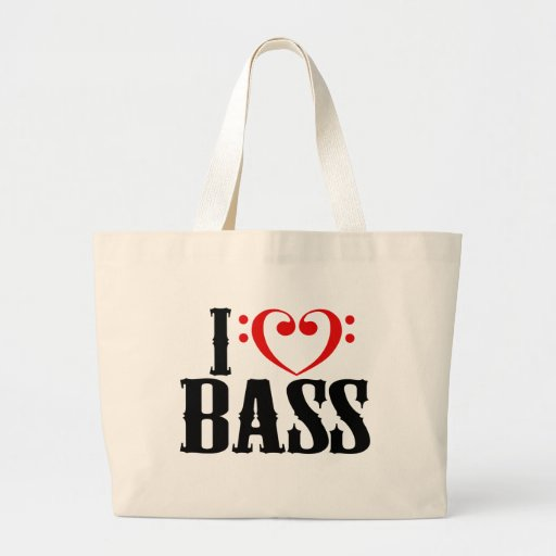 I Love Bass, with bass clef Heart Tote Bags