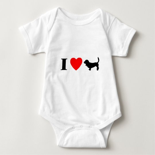I Love Basset Hounds Baby Creeper