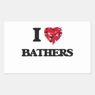 I love Bathers Rectangular Sticker