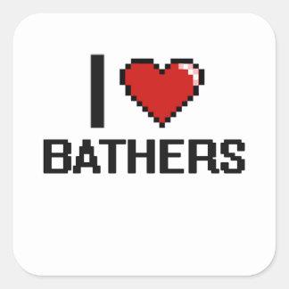 I love Bathers Square Sticker