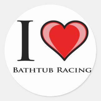 I Love Bathtub Racing Classic Round Sticker