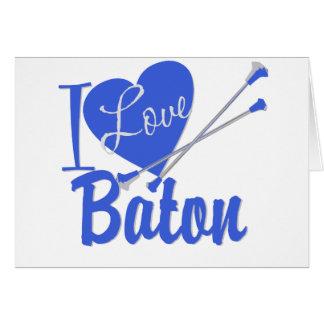 I Love Baton Greeting Cards