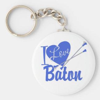 I Love Baton Keychain