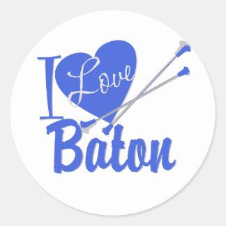 I Love Baton Round Sticker