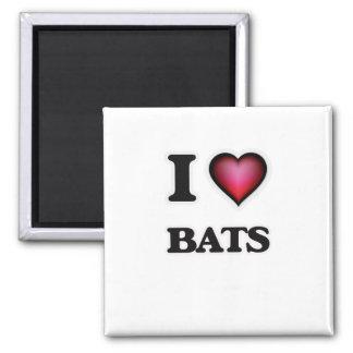 I Love Bats 2 Inch Square Magnet
