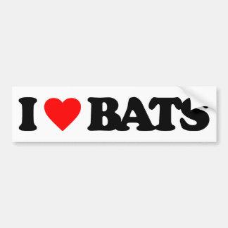 I LOVE BATS CAR BUMPER STICKER