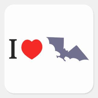 I Love Bats Square Sticker