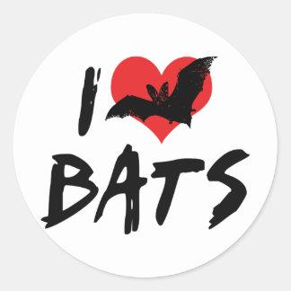 I Love Bats Classic Round Sticker