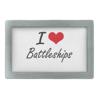 I Love Battleships Artistic Design Rectangular Belt Buckles