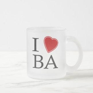 I Love Bay Area 10 Oz Frosted Glass Coffee Mug