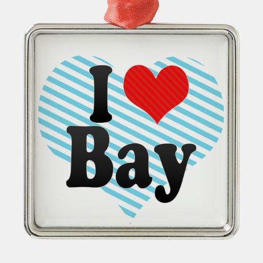 I Love Bay Square Metal Christmas Ornament