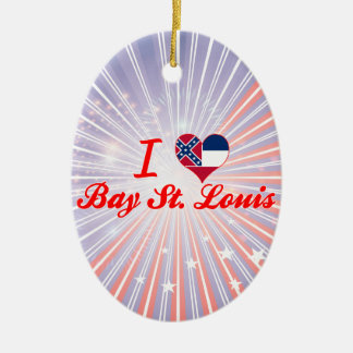 I Love Bay St. Louis, Mississippi Double-Sided Oval Ceramic Christmas Ornament