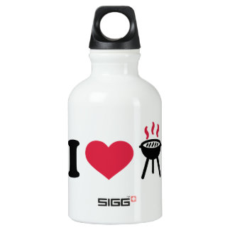 I love BBQ barbecue Aluminum Water Bottle