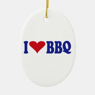 I Love BBQ Ceramic Ornament
