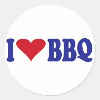 I Love BBQ Classic Round Sticker
