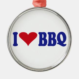 I Love BBQ Metal Ornament