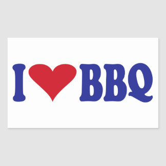 I Love BBQ Rectangular Sticker