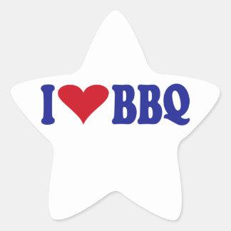 I Love BBQ Star Sticker