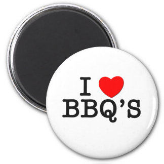 I Love BBQ'S ( food ) 2 Inch Round Magnet