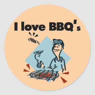 I Love BBQs T-shirts and Gifts Round Stickers