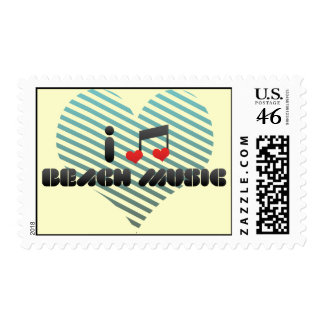 I Love Beach Music Postage Stamps
