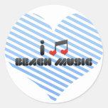 I Love Beach Music Round Sticker