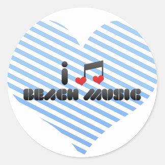 I Love Beach Music Classic Round Sticker