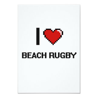 I Love Beach Rugby Digital Retro Design 3.5x5 Paper Invitation Card