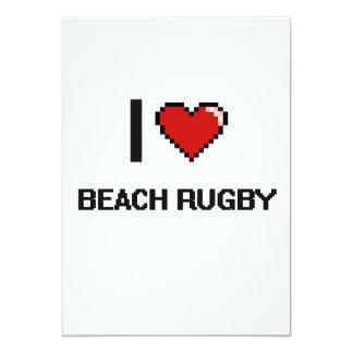 I Love Beach Rugby Digital Retro Design 5x7 Paper Invitation Card