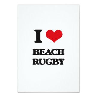 I Love Beach Rugby 3.5x5 Paper Invitation Card