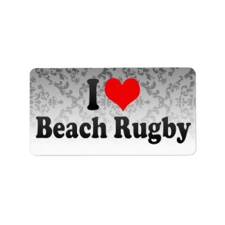 I love Beach Rugby Address Label