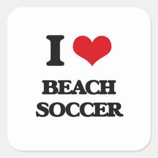 I Love Beach Soccer Square Stickers