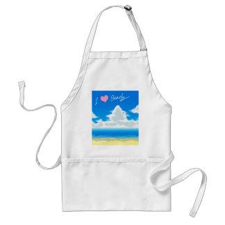 I Love Beach (Text) Adult Apron