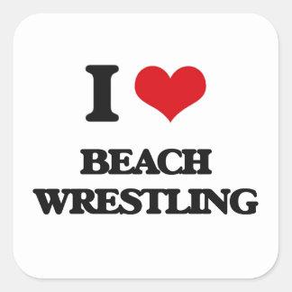 I Love Beach Wrestling Square Stickers